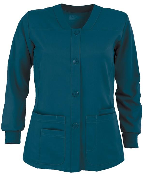Grey S Anatomy Ladies Junior Fit Four Pocket Scrub Jacket